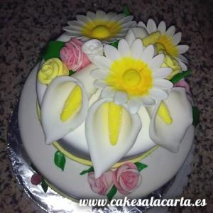 Tarta cake de flores fondant