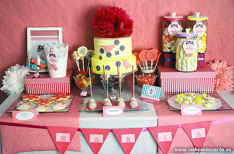 Mesas dulces para comuniones cakes cupcakes y cookies - Mesas dulces para ninas ...